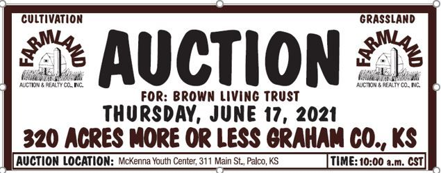 Auction flyer for 320 +/- Acres Graham County, Kansas