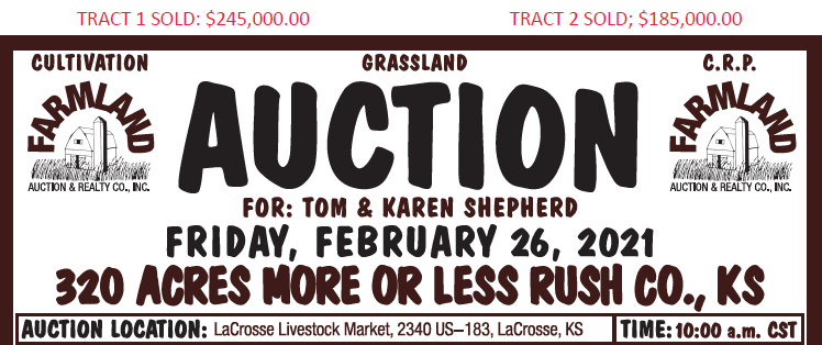 Auction flyer for 320 Acres More or Less Rush County, Kansas