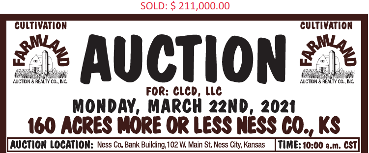 Auction flyer for 160 +/- Acres Ness County, Kansas