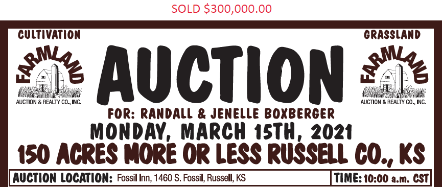 Auction flyer for 150 +/- Acres Russell County, Kansas