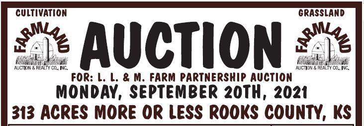Auction flyer for 313 +/- Acres Rooks Co., KS