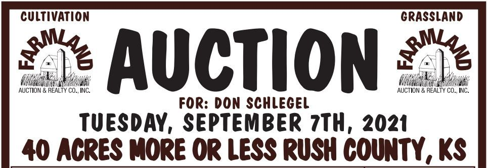 Auction flyer for SOLD!! 40 +/- Acres Rush County, Kansas