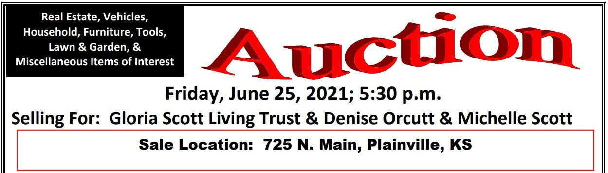 Auction flyer for Real Estate and Personal Property Auction